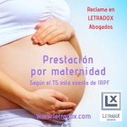 El TS declara que esta exenta la prestación por maternidad